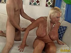 Large bags matured Mandy McGraw earns group-fucked