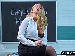 Full-bosomed mom prof obtains with youth twosome in her classroom mature sex