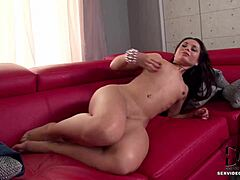 MILF Kristall Rush aka Aurelly Rebel touches her bush gently