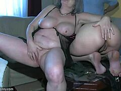 Oldnanny hot budding bimbo playing with old lad and his old jelly-belly ripened mom tube